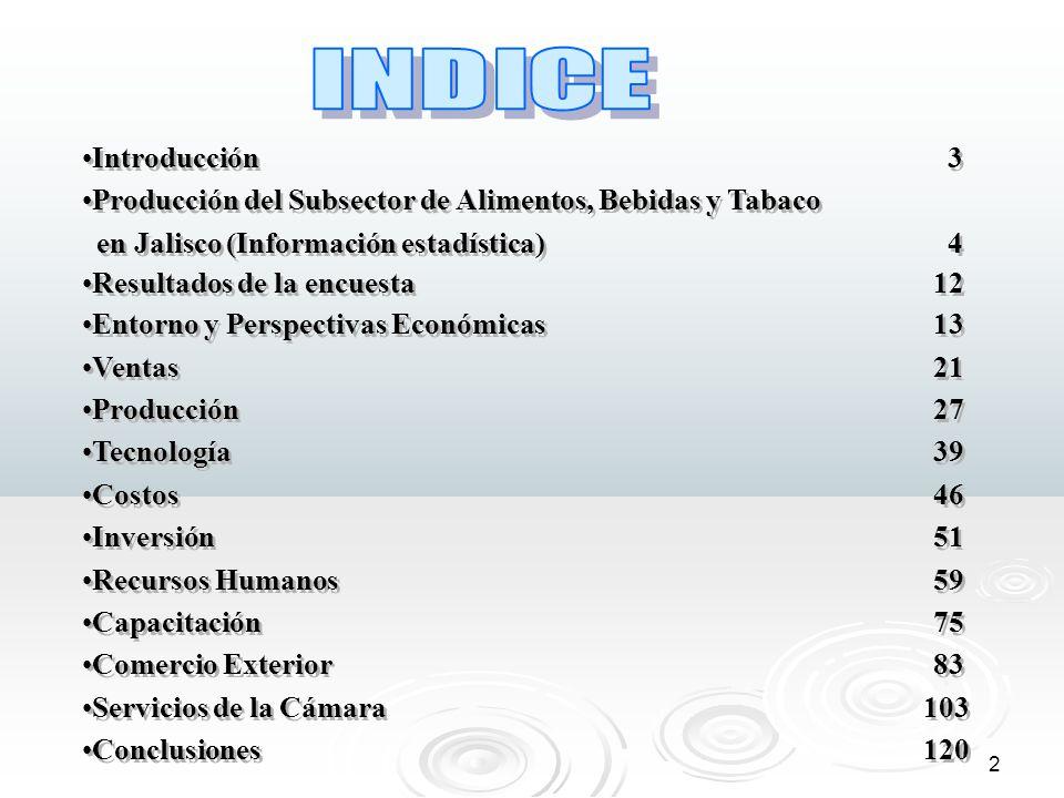 3 Durante los meses de diciembre del 2004, enero y febrero del presente año se levantó la Encuesta de Coyuntura a 319 empresas del sector alimenticio de Jalisco como esfuerzo conjunto del Sistema Estatal de Información Jalisco y de la Cámara de la Industria Alimenticia de Jalisco.