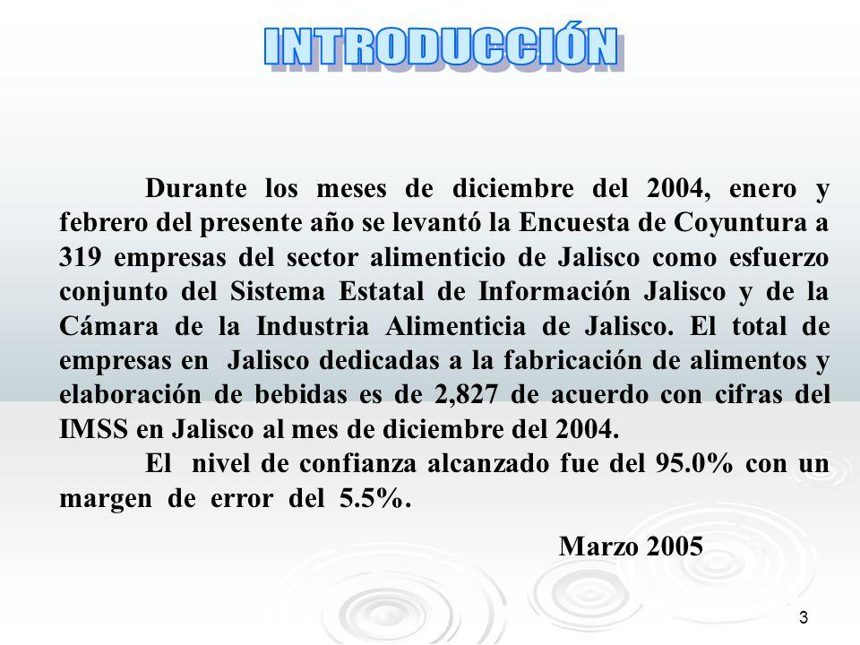 3 Durante los meses de diciembre del 2004, enero y febrero del presente año se levantó la Encuesta de Coyuntura a 319 empresas del sector alimenticio