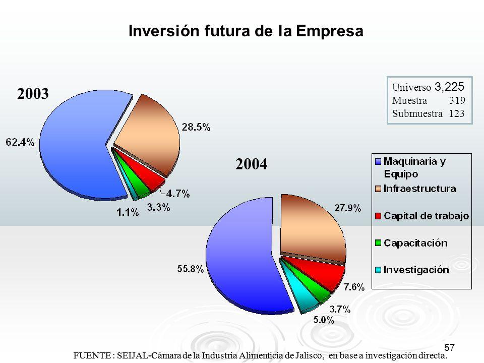 57 FUENTE : SEIJAL-Cámara de la Industria Alimenticia de Jalisco, en base a investigación directa. Inversión futura de la Empresa 2003 2004 Universo 3