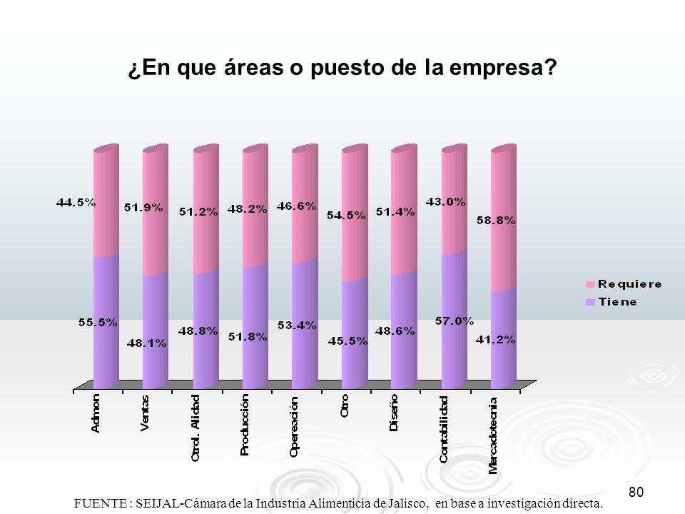 80 ¿En que áreas o puesto de la empresa? FUENTE : SEIJAL-Cámara de la Industria Alimenticia de Jalisco, en base a investigación directa.
