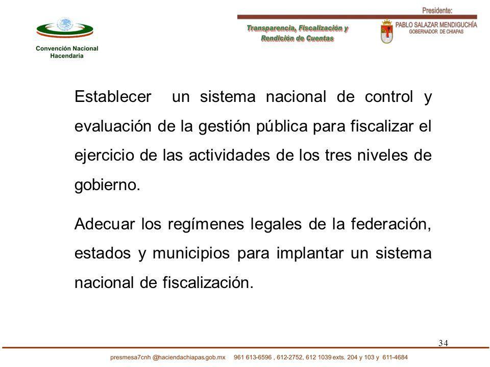 34 Establecer un sistema nacional de control y evaluación de la gestión pública para fiscalizar el ejercicio de las actividades de los tres niveles de