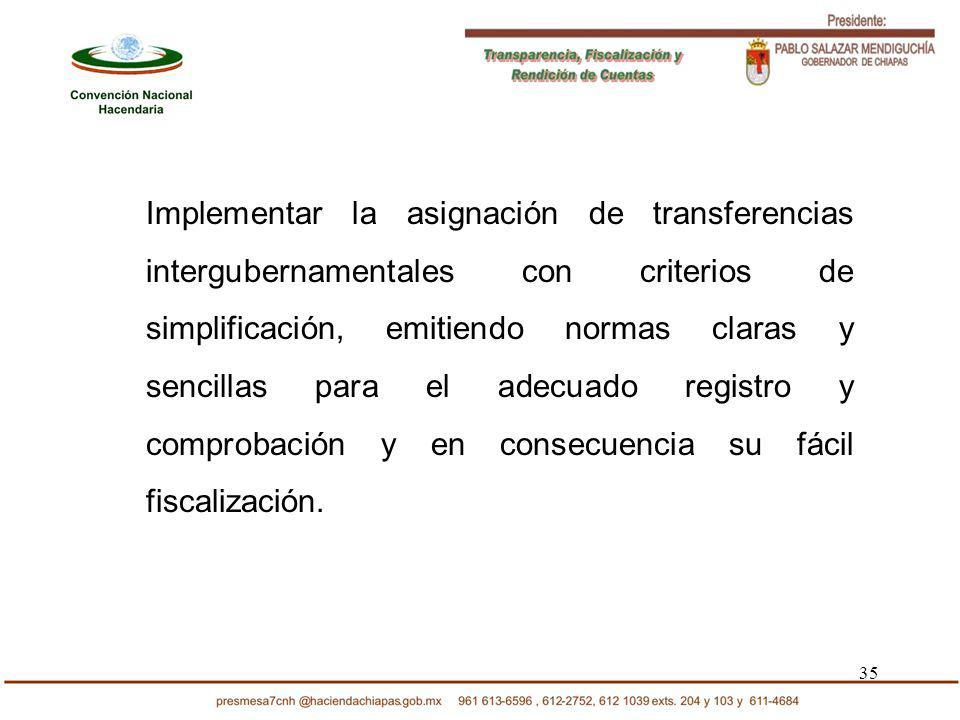 35 Implementar la asignación de transferencias intergubernamentales con criterios de simplificación, emitiendo normas claras y sencillas para el adecu