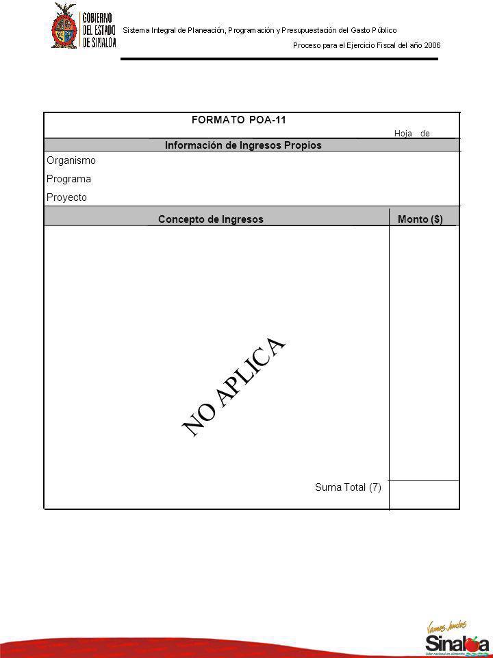 Hoja de Concepto de IngresosMonto ($) Suma Total (7) Proyecto FORMATO POA-11 Información de Ingresos Propios Organismo Programa NO APLICA