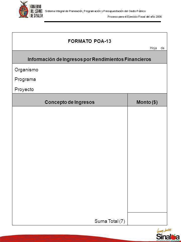 Suma Total (7) Monto ($)Concepto de Ingresos Proyecto Programa Organismo Información de Ingresos por Rendimientos Financieros Hoja de FORMATO POA-13