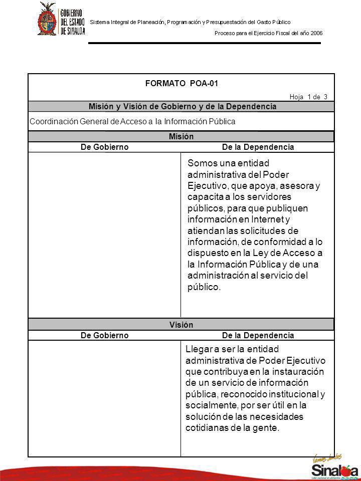 De GobiernoDe la Dependencia De GobiernoDe la Dependencia Misión Visión FORMATO POA-01 Misión y Visión de Gobierno y de la Dependencia Hoja 1 de 3 Coordinación General de Acceso a la Información Pública Somos una entidad administrativa del Poder Ejecutivo, que apoya, asesora y capacita a los servidores públicos, para que publiquen información en Internet y atiendan las solicitudes de información, de conformidad a lo dispuesto en la Ley de Acceso a la Información Pública y de una administración al servicio del público.