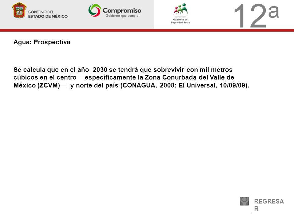 12 a Agua: Prospectiva REGRESA R Se calcula que en el año 2030 se tendrá que sobrevivir con mil metros cúbicos en el centro específicamente la Zona Conurbada del Valle de México (ZCVM) y norte del país (CONAGUA, 2008; El Universal, 10/09/09).