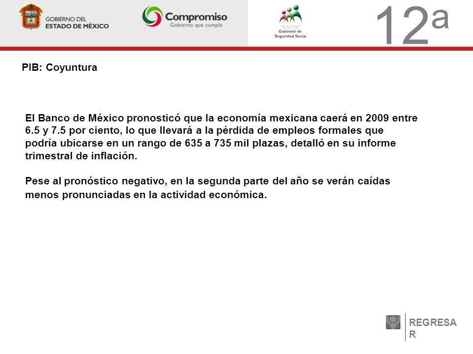 12 a PIB: Coyuntura REGRESA R El Banco de México pronosticó que la economía mexicana caerá en 2009 entre 6.5 y 7.5 por ciento, lo que llevará a la pérdida de empleos formales que podría ubicarse en un rango de 635 a 735 mil plazas, detalló en su informe trimestral de inflación.