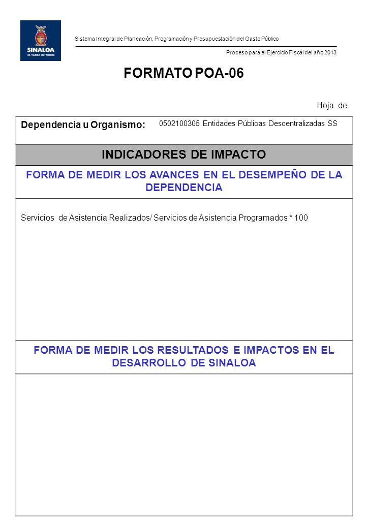 Sistema Integral de Planeación, Programación y Presupuestación del Gasto Público Proceso para el Ejercicio Fiscal del año 2013 FORMATO POA-06 Hoja de