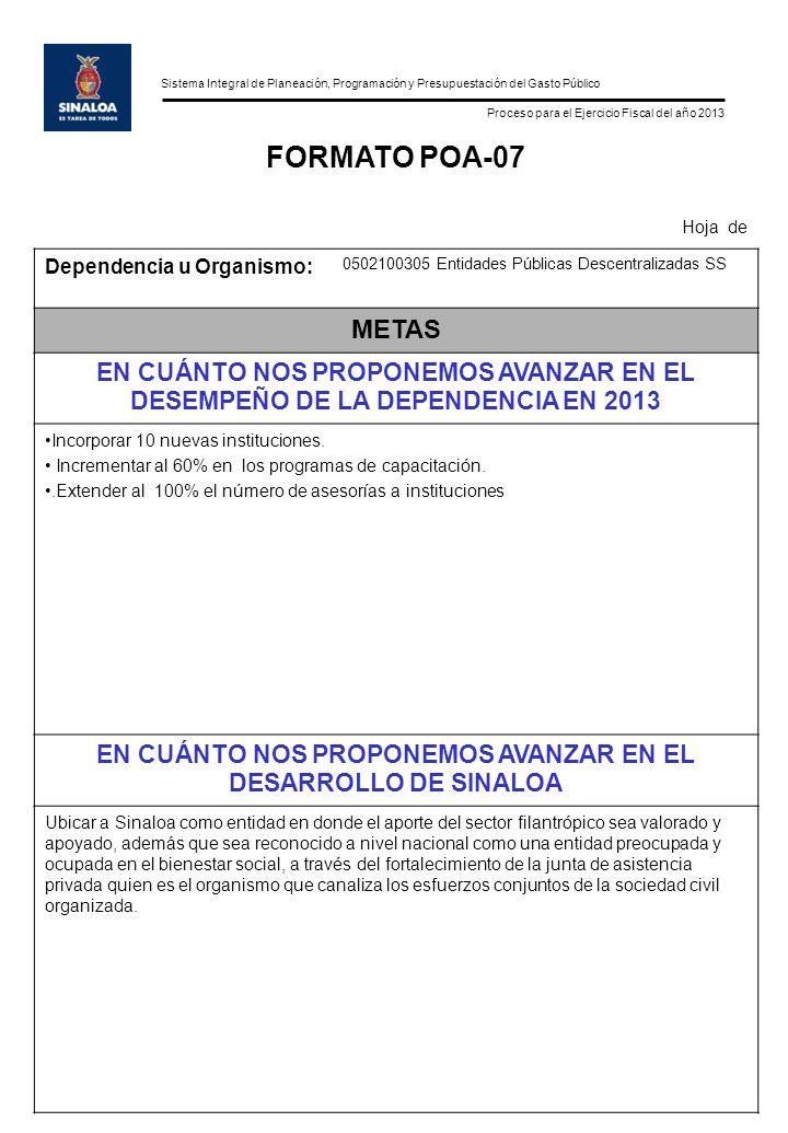 Sistema Integral de Planeación, Programación y Presupuestación del Gasto Público Proceso para el Ejercicio Fiscal del año 2013 FORMATO POA-07 Hoja de