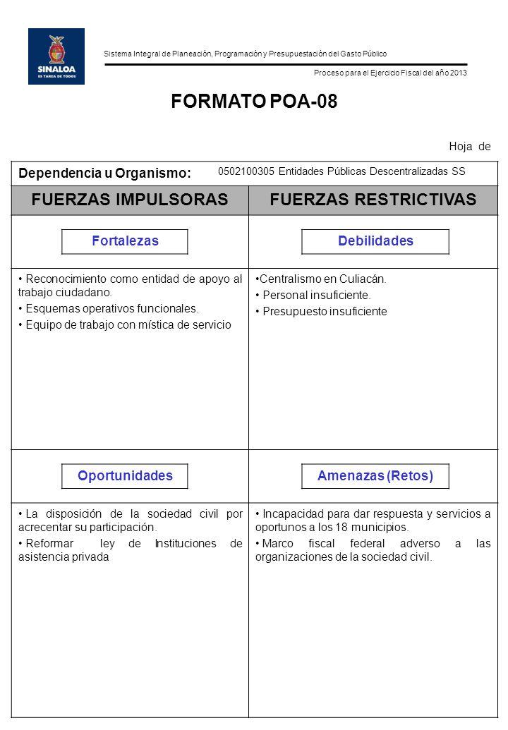 Sistema Integral de Planeación, Programación y Presupuestación del Gasto Público Proceso para el Ejercicio Fiscal del año 2013 FORMATO POA-08 Hoja de