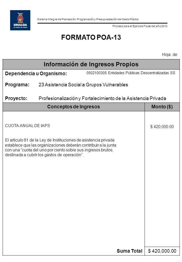 Sistema Integral de Planeación, Programación y Presupuestación del Gasto Público Proceso para el Ejercicio Fiscal del año 2013 FORMATO POA-13 Hoja de