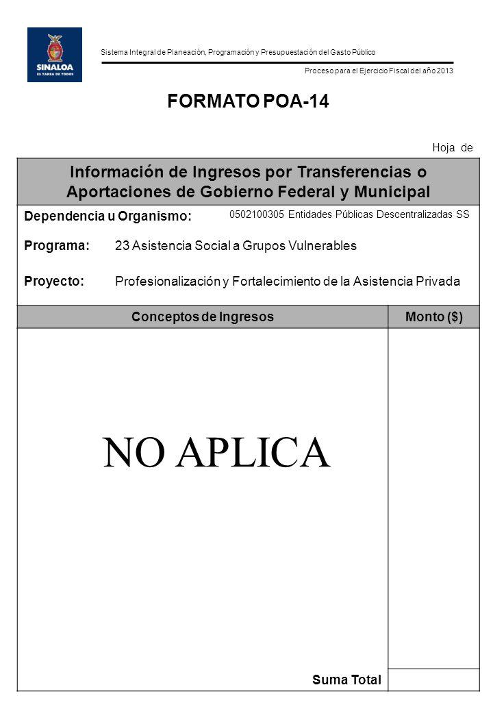 Sistema Integral de Planeación, Programación y Presupuestación del Gasto Público Proceso para el Ejercicio Fiscal del año 2013 FORMATO POA-14 Hoja de