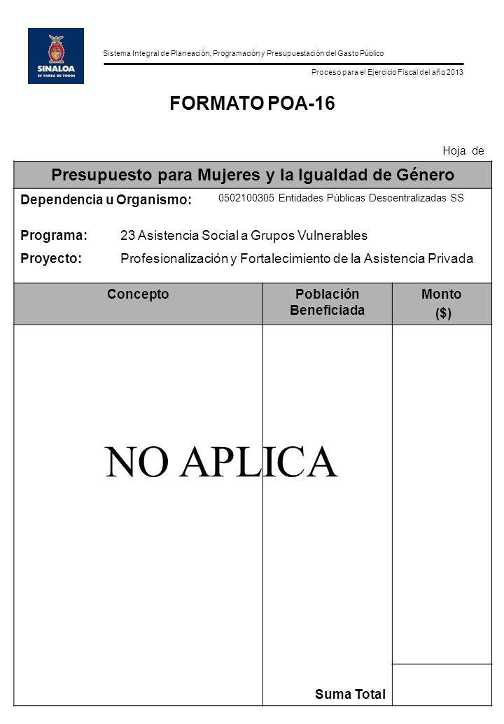 Sistema Integral de Planeación, Programación y Presupuestación del Gasto Público Proceso para el Ejercicio Fiscal del año 2013 FORMATO POA-16 Hoja de