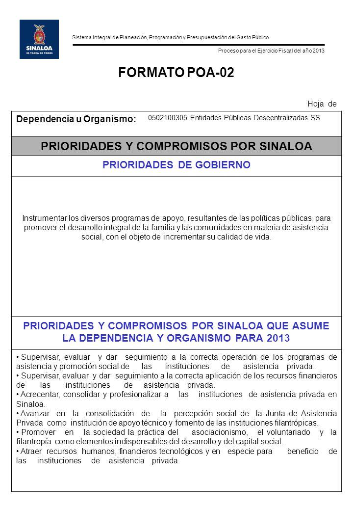 Sistema Integral de Planeación, Programación y Presupuestación del Gasto Público Proceso para el Ejercicio Fiscal del año 2013 FORMATO POA-02 Hoja de
