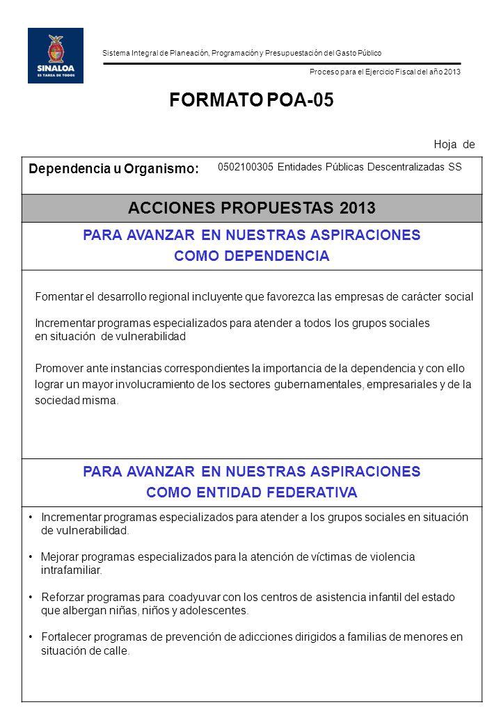 Sistema Integral de Planeación, Programación y Presupuestación del Gasto Público Proceso para el Ejercicio Fiscal del año 2013 FORMATO POA-05 Hoja de