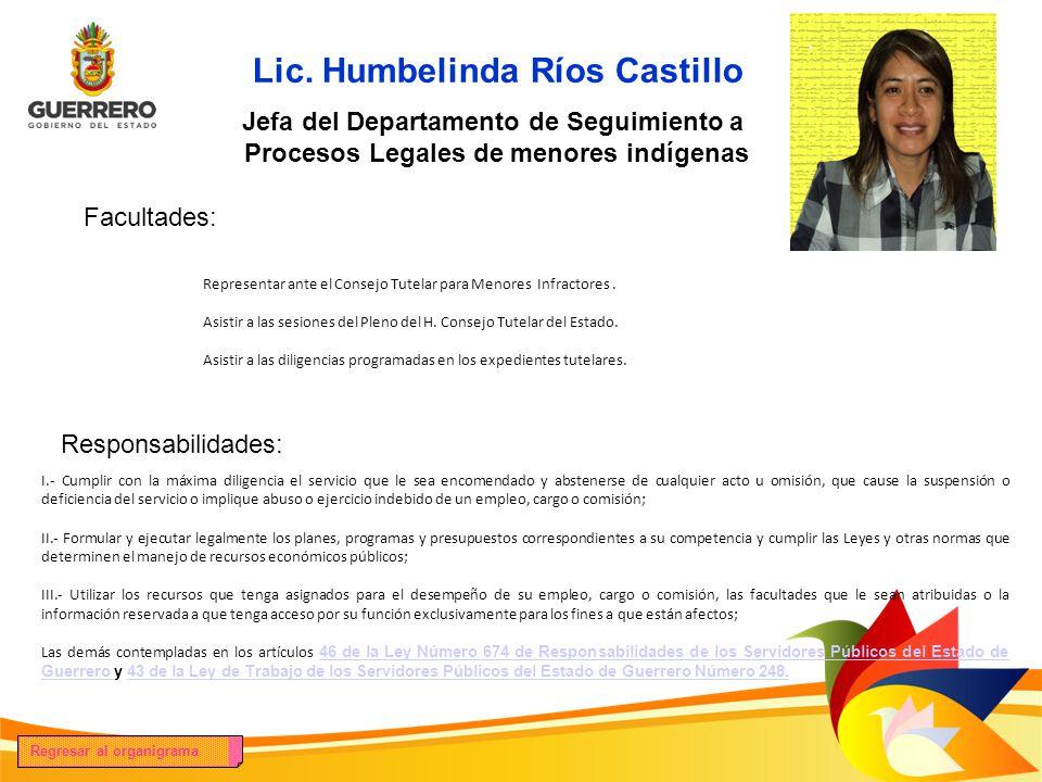 Lic. Humbelinda Ríos Castillo Facultades: Responsabilidades: Jefa del Departamento de Seguimiento a Procesos Legales de menores indígenas Representar