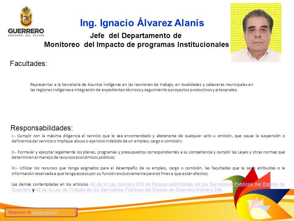 Ing. Ignacio Álvarez Alanís Facultades: Responsabilidades: Jefe del Departamento de Monitoreo del Impacto de programas Institucionales Representar a l