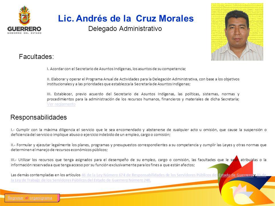 Facultades: Responsabilidades I. Acordar con el Secretario de Asuntos Indígenas, los asuntos de su competencia; II. Elaborar y operar el Programa Anua