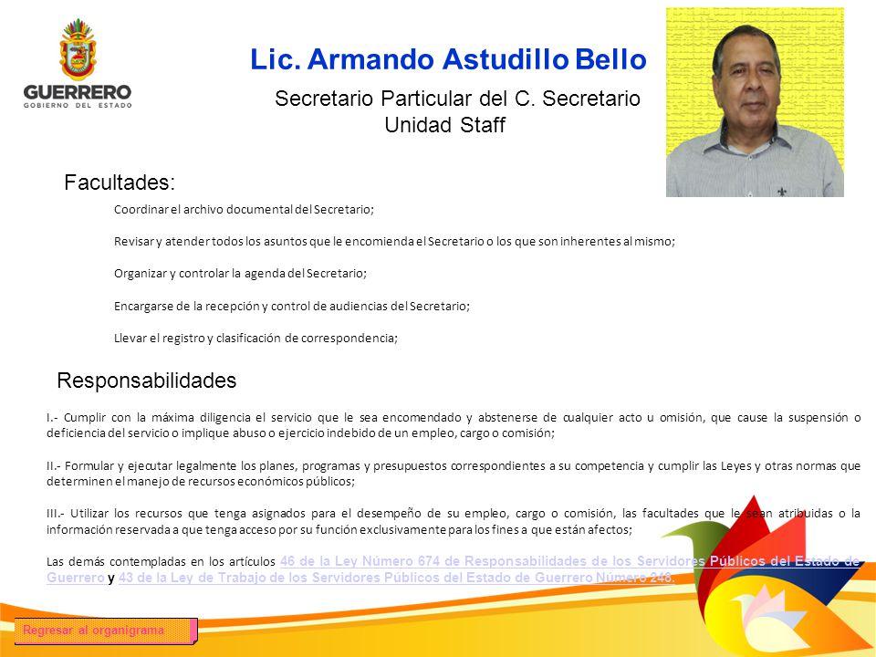 Facultades: Responsabilidades Lic. Armando Astudillo Bello Secretario Particular del C. Secretario Foto del titular Unidad Staff Coordinar el archivo