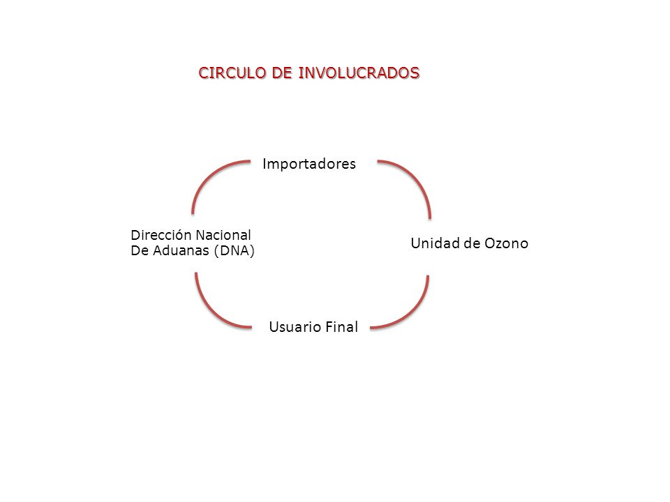 CIRCULO DE INVOLUCRADOS Importadores Usuario Final Unidad de Ozono Dirección Nacional De Aduanas (DNA)