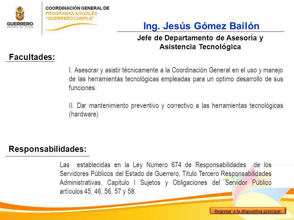 Facultades: Responsabilidades: Ing. Jesús Gómez Bailón Jefe de Departamento de Asesoría y Asistencia Tecnológica I. Asesorar y asistir técnicamente a