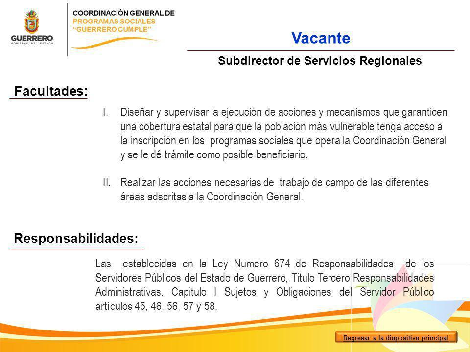 Facultades: Responsabilidades: Subdirector de Servicios Regionales I.Diseñar y supervisar la ejecución de acciones y mecanismos que garanticen una cob