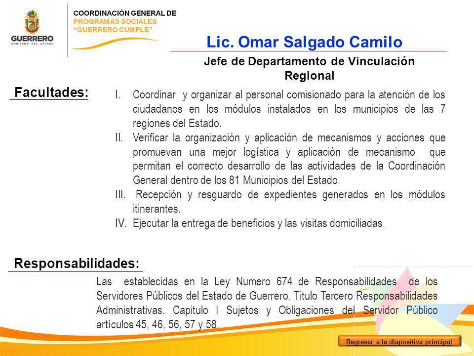 I.Coordinar y organizar al personal comisionado para la atención de los ciudadanos en los módulos instalados en los municipios de las 7 regiones del E