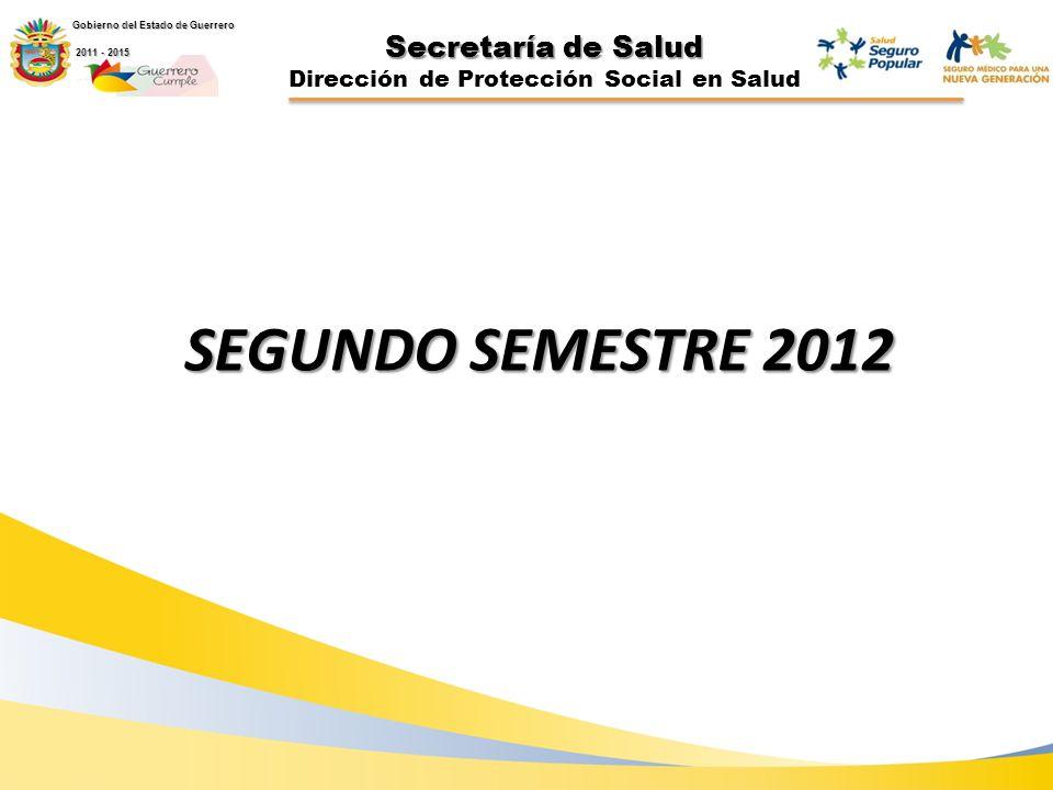 Secretaría de Salud Dirección de Protección Social en Salud SEGUNDO SEMESTRE 2012 Gobierno del Estado de Guerrero 2011 - 2015 2011 - 2015