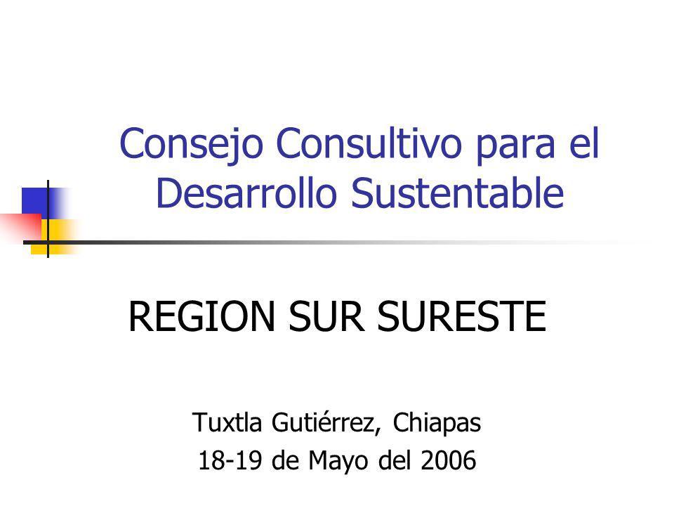 Consejo Consultivo para el Desarrollo Sustentable REGION SUR SURESTE Tuxtla Gutiérrez, Chiapas 18-19 de Mayo del 2006