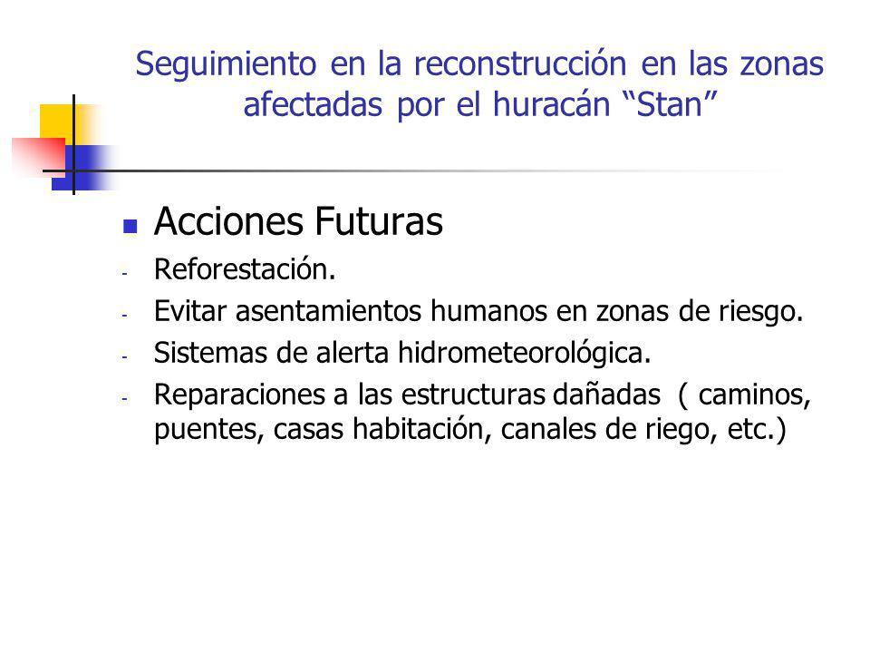 Seguimiento en la reconstrucción en las zonas afectadas por el huracán Stan Acciones Futuras - Reforestación.
