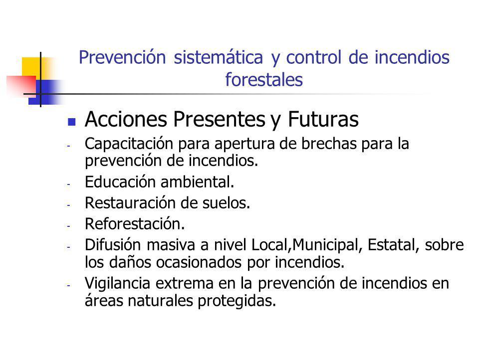 Prevención sistemática y control de incendios forestales Acciones Presentes y Futuras - Capacitación para apertura de brechas para la prevención de incendios.
