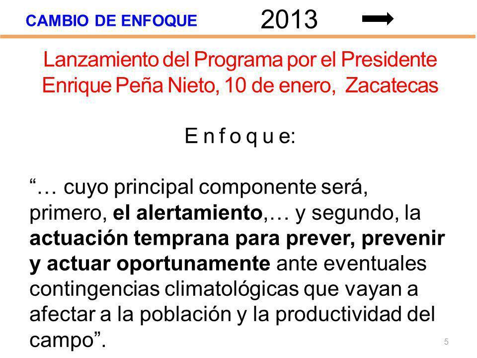 CAMBIO DE ENFOQUE 5 2013 Lanzamiento del Programa por el Presidente Enrique Peña Nieto, 10 de enero, Zacatecas E n f o q u e: … cuyo principal compone