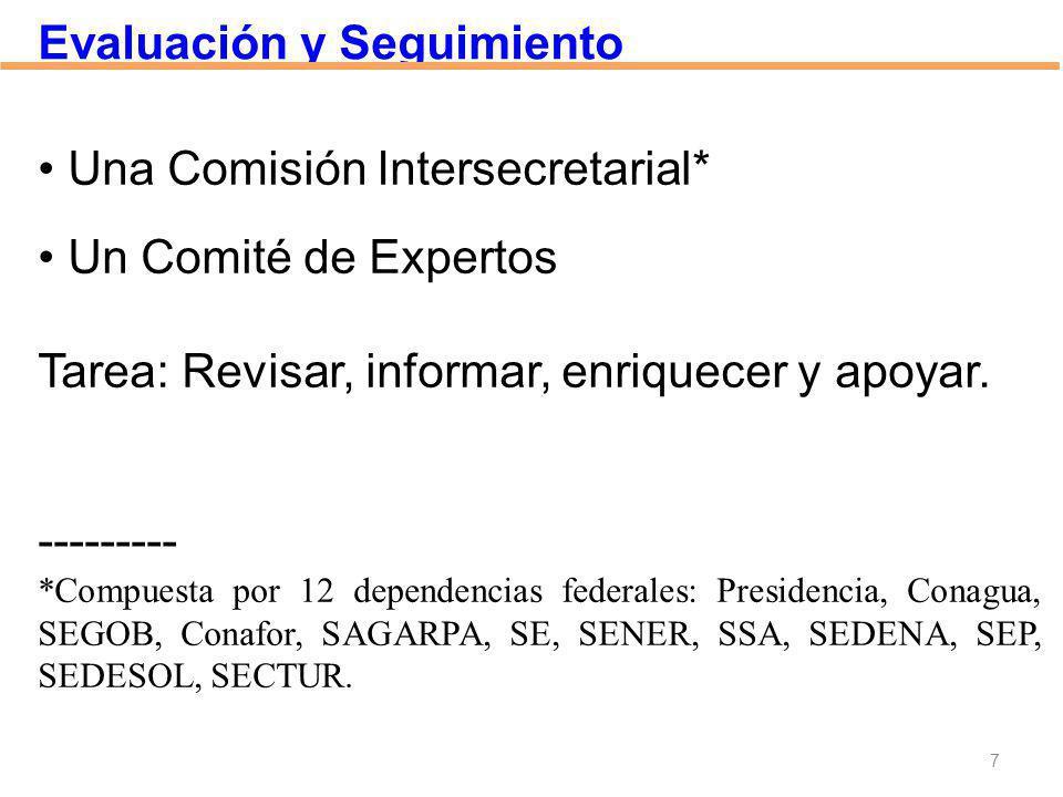 Una Comisión Intersecretarial* Un Comité de Expertos Tarea: Revisar, informar, enriquecer y apoyar. --------- *Compuesta por 12 dependencias federales
