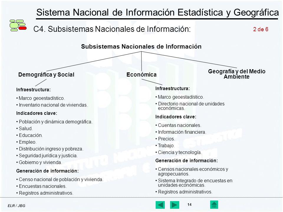 ELR / JBG 14 Sistema Nacional de Información Estadística y Geográfica C4. Subsistemas Nacionales de Información: Subsistemas Nacionales de Información