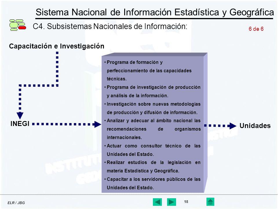 ELR / JBG 18 Sistema Nacional de Información Estadística y Geográfica C4. Subsistemas Nacionales de Información: Capacitación e Investigación Programa