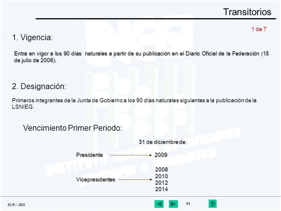 ELR / JBG 41 1. Vigencia: Transitorios Entra en vigor a los 90 días naturales a partir de su publicación en el Diario Oficial de la Federación (15 de