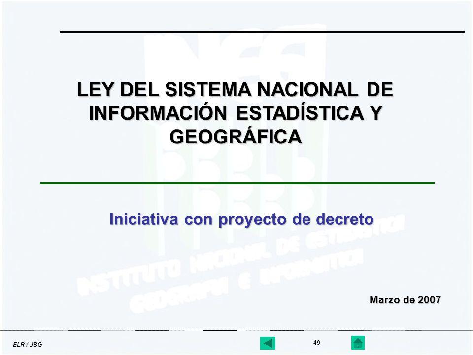 ELR / JBG 49 Iniciativa con proyecto de decreto LEY DEL SISTEMA NACIONAL DE INFORMACIÓN ESTADÍSTICA Y GEOGRÁFICA Marzo de 2007