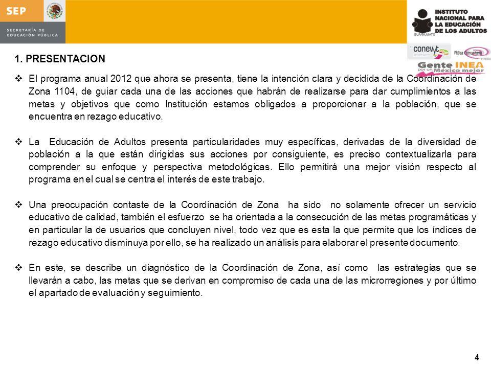 1. PRESENTACION El programa anual 2012 que ahora se presenta, tiene la intención clara y decidida de la Coordinación de Zona 1104, de guiar cada una d