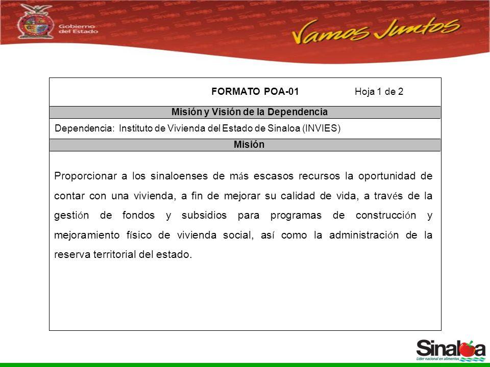 Sistema Integral de Planeación, Programación y Presupuestación del Gasto Público Proceso para el Ejercicio Fiscal del año 2005 FORMATO POA-01 Misión y Visión de la Dependencia Misión Dependencia: Instituto de Vivienda del Estado de Sinaloa (INVIES) Hoja 1 de 2 Proporcionar a los sinaloenses de m á s escasos recursos la oportunidad de contar con una vivienda, a fin de mejorar su calidad de vida, a trav é s de la gesti ó n de fondos y subsidios para programas de construcci ó n y mejoramiento f í sico de vivienda social, as í como la administraci ó n de la reserva territorial del estado.