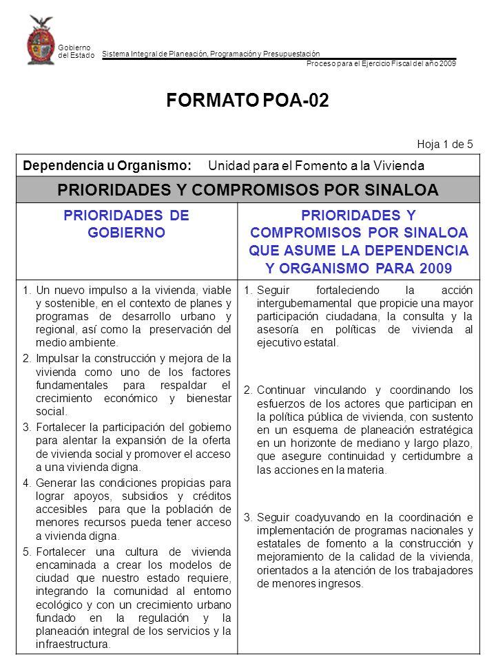Sistema Integral de Planeación, Programación y Presupuestación Proceso para el Ejercicio Fiscal del año 2009 Gobierno del Estado FORMATO POA-02 Hoja 1