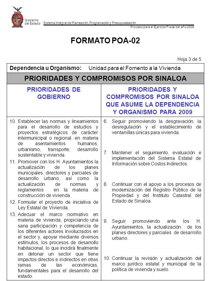 Sistema Integral de Planeación, Programación y Presupuestación Proceso para el Ejercicio Fiscal del año 2009 Gobierno del Estado FORMATO POA-02 Hoja 3