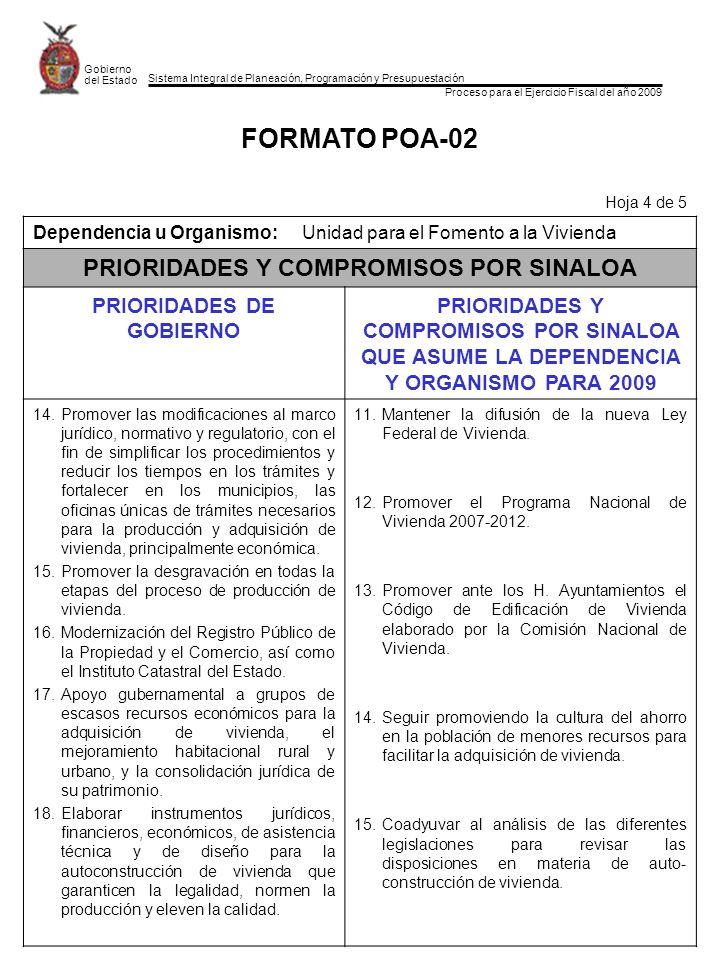 Sistema Integral de Planeación, Programación y Presupuestación Proceso para el Ejercicio Fiscal del año 2009 Gobierno del Estado FORMATO POA-02 Hoja 4