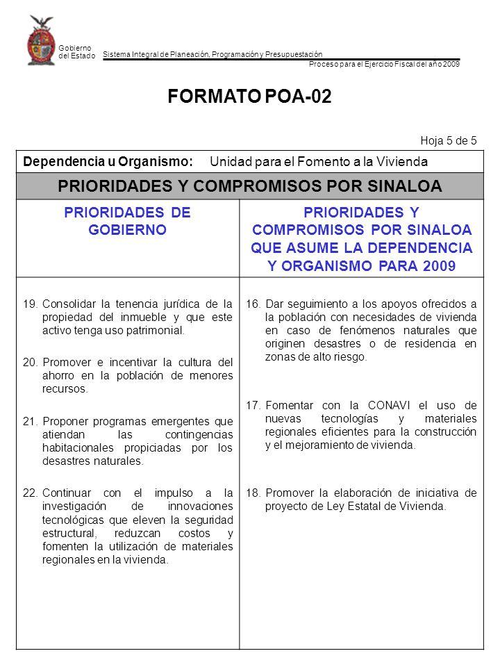 Sistema Integral de Planeación, Programación y Presupuestación Proceso para el Ejercicio Fiscal del año 2009 Gobierno del Estado FORMATO POA-02 Hoja 5