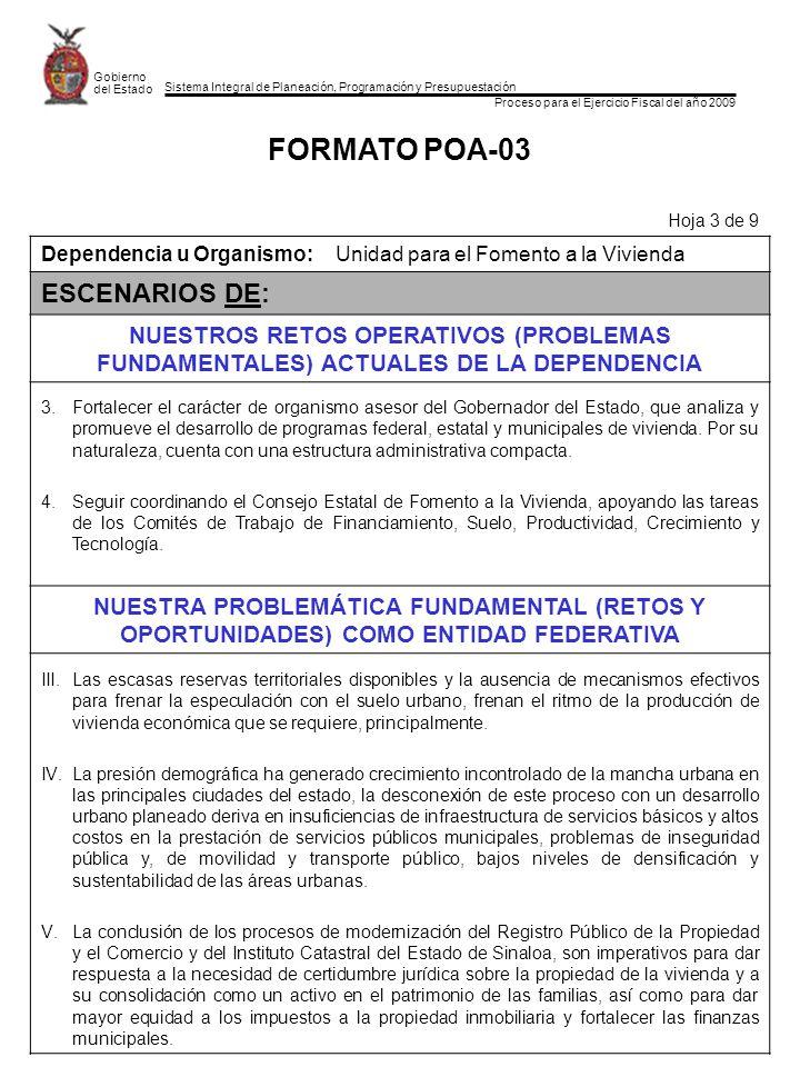 Sistema Integral de Planeación, Programación y Presupuestación Proceso para el Ejercicio Fiscal del año 2009 Gobierno del Estado FORMATO POA-03 Hoja 3