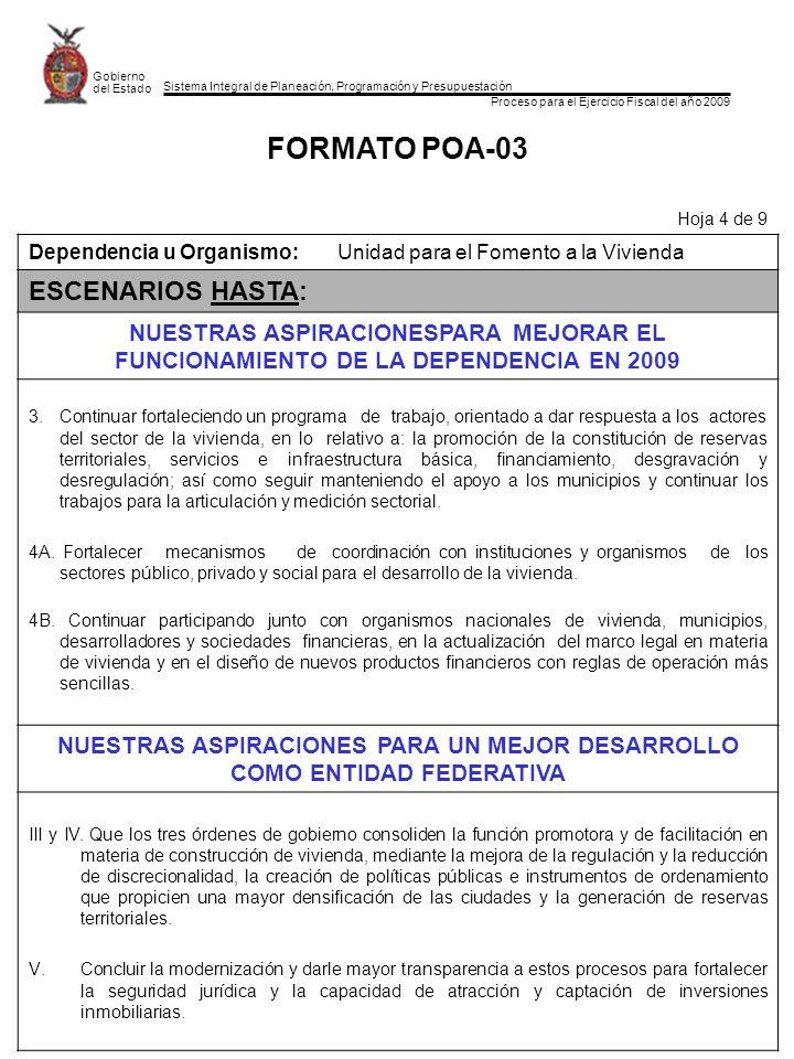 Sistema Integral de Planeación, Programación y Presupuestación Proceso para el Ejercicio Fiscal del año 2009 Gobierno del Estado FORMATO POA-03 Hoja 4