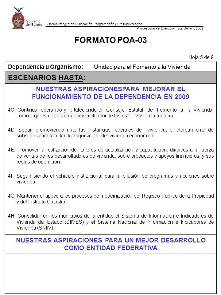 Sistema Integral de Planeación, Programación y Presupuestación Proceso para el Ejercicio Fiscal del año 2009 Gobierno del Estado FORMATO POA-03 Hoja 5
