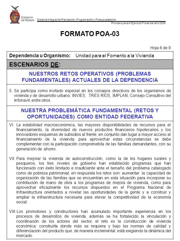 Sistema Integral de Planeación, Programación y Presupuestación Proceso para el Ejercicio Fiscal del año 2009 Gobierno del Estado FORMATO POA-03 Hoja 6