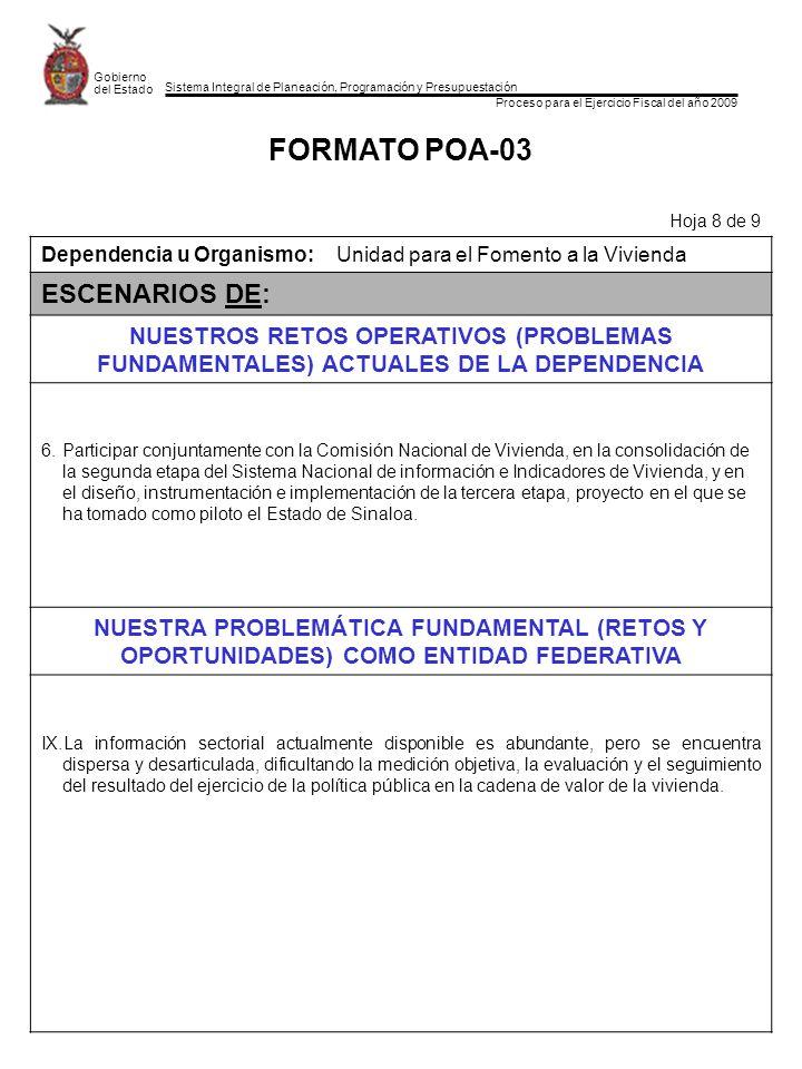 Sistema Integral de Planeación, Programación y Presupuestación Proceso para el Ejercicio Fiscal del año 2009 Gobierno del Estado FORMATO POA-03 Hoja 8