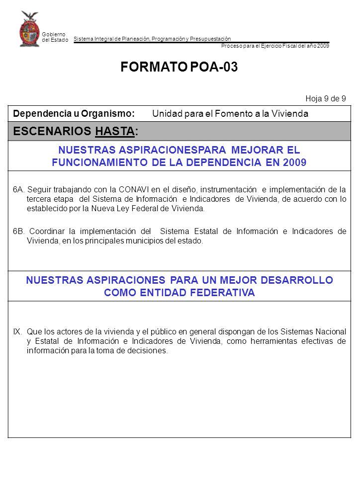Sistema Integral de Planeación, Programación y Presupuestación Proceso para el Ejercicio Fiscal del año 2009 Gobierno del Estado FORMATO POA-03 Hoja 9
