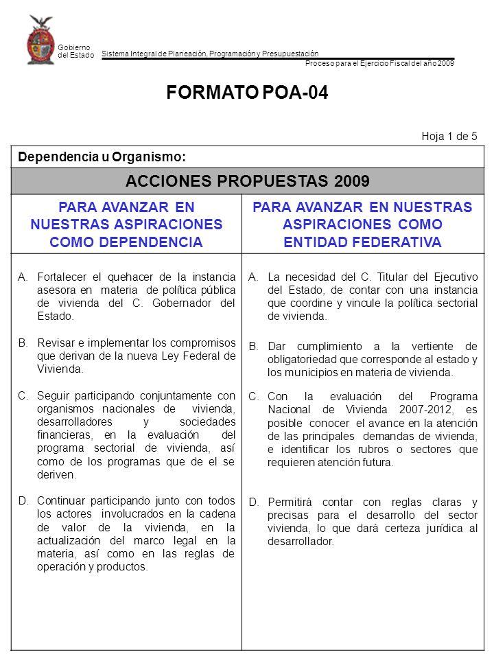 Sistema Integral de Planeación, Programación y Presupuestación Proceso para el Ejercicio Fiscal del año 2009 Gobierno del Estado FORMATO POA-04 Hoja 1